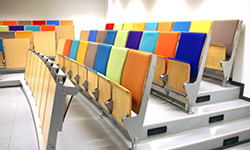 Colorful chairs in a classroom