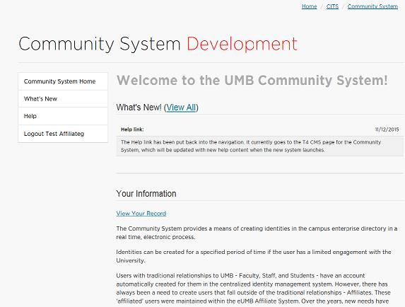 Community System image to view your record.