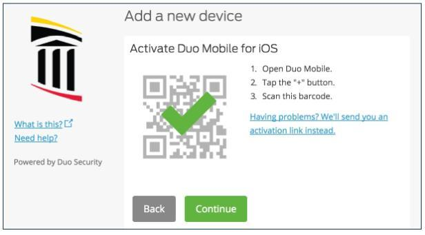 Duo barcode displays when activation is successful.