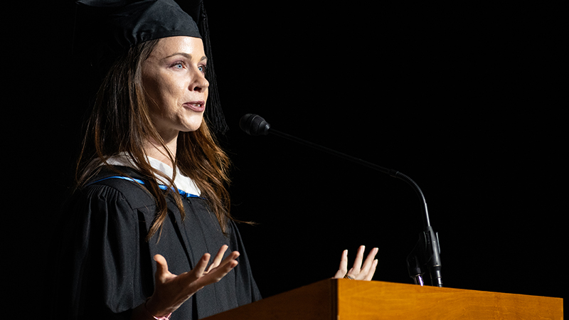 Barbara Pierce Bush giving a commencement speech to the 2019 graduates of UMB