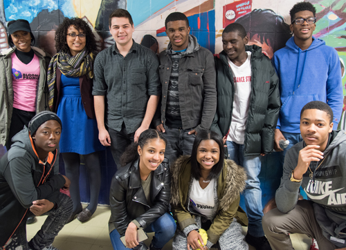 Back row, from left: Renaissance Academy (RA) student Jenelda Artis; Rudayna Bahubeshi and Sam Kloestra, both Wellesley Institute Youth Advisory Group members; and RA students Kennard Rice, Christopher Streeter, and Uthman Al-Ahmary. Bottom row, from left: RA student Bernard Young; Souleik Kheyre, Wellesley Institute Youth Advisory Group member; and RA students Tori Baker and Khalil Bridges.
