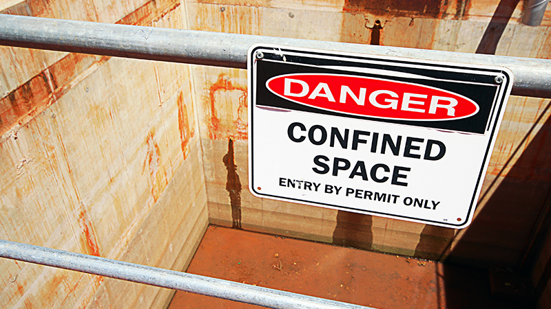 Occupational Safety - Danger Confined Space by permit only