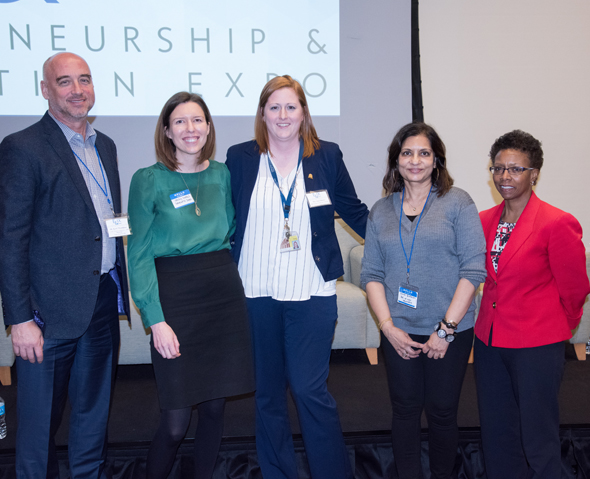 Panelists were, left to right, Scott Thompson, PhD; Jenny Owens, ScD, MS; Sara Menso, MBA, MS; Rana Quraishi, PhD; and Natalie D. Eddington, PhD, FAAPS, FCP.