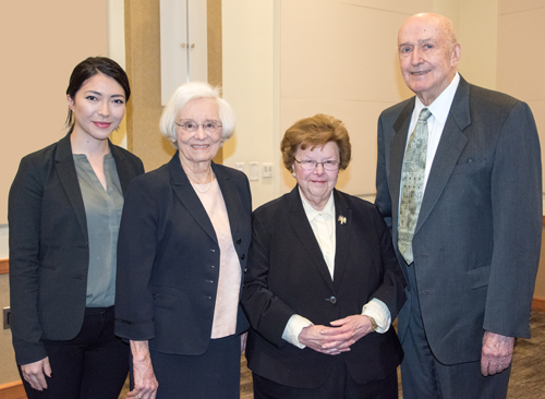 University of Maryland Francis King Carey School of Law student Linda S. Morris, University of Maryland School of Medicine Professor Emeritus Patricia Langenberg, retired Sen. Barbara Mikulski, and University System of Maryland Chancellor Emeritus Donald N. Langenberg.