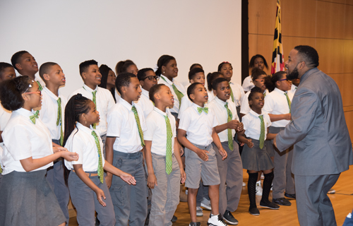 Students from Green Street Academy perform prior to the State of the University Address given by University of Maryland, Baltimore President Jay A. Perman, MD.