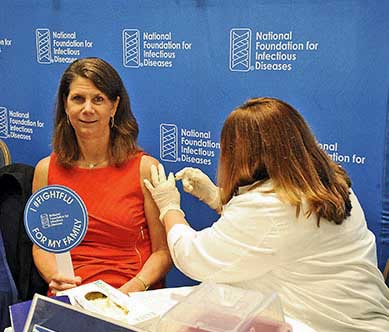 Kathleen Neuzil,Director of the Center for Vaccine Development (CVD) at the University of Maryland School of Medicine (UM SOM), gets her flu vaccine.
