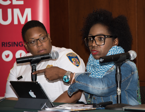 Erika Alston-Buck, chief executive officer for Penn North Recovery and founding director of The Kids Safe Zone, was the most passionate member of the RISING Baltimore panel session. She has a good working relationship with Major Sheree Briscoe of the Baltimore Police Department.