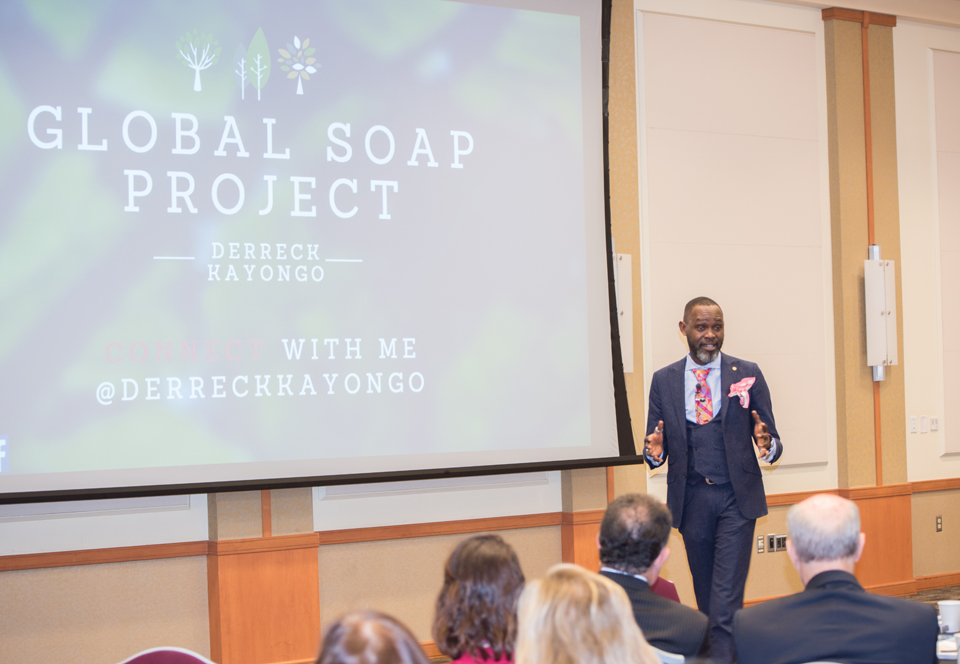 Derreck Kayongo, CEO of the National Center for Civil and Human Rights and founder of Global Soap Project, addresses the UMB community at the President's Panel on Politics and Policy.