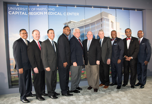 Gov. Larry Hogan, UMMS CEO Robert A. Chrencik, UMB Executive VP and Dean of UM School of Medicine E. Albert Reece, MD, along with federal, state, and county dignitaries help break ground for the new University of Maryland Capital Region Medical Center in Largo.