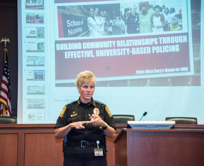 UMB Police Chief Alice Cary, MS, discussed community-based policing during her presentation at the University's quarterly Q&A session.