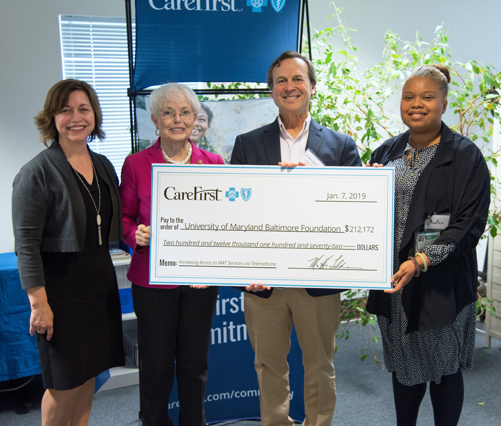 L-to-R, Julie Wagner, vice president of community affairs, CareFirst; State Sen. Adelaide C. Eckardt (R-Caroline, Dorchester, Talbot, and Wicomico counties); Eric Weintraub, MD, associate professor, UMSOM; and Andrea Kelly-Freeman, MS, LCADC, LLPC, founder and chief executive officer, Life's Energy Wellness Inc.