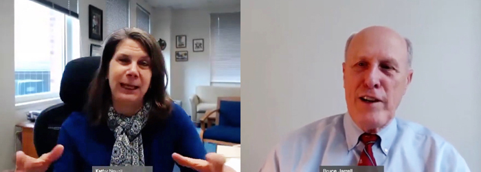 """Drs. Kathleen Neuzil and Bruce Jarrell speak about vaccine development on """"Virtual Face to Face with Dr. Bruce Jarrell."""""""