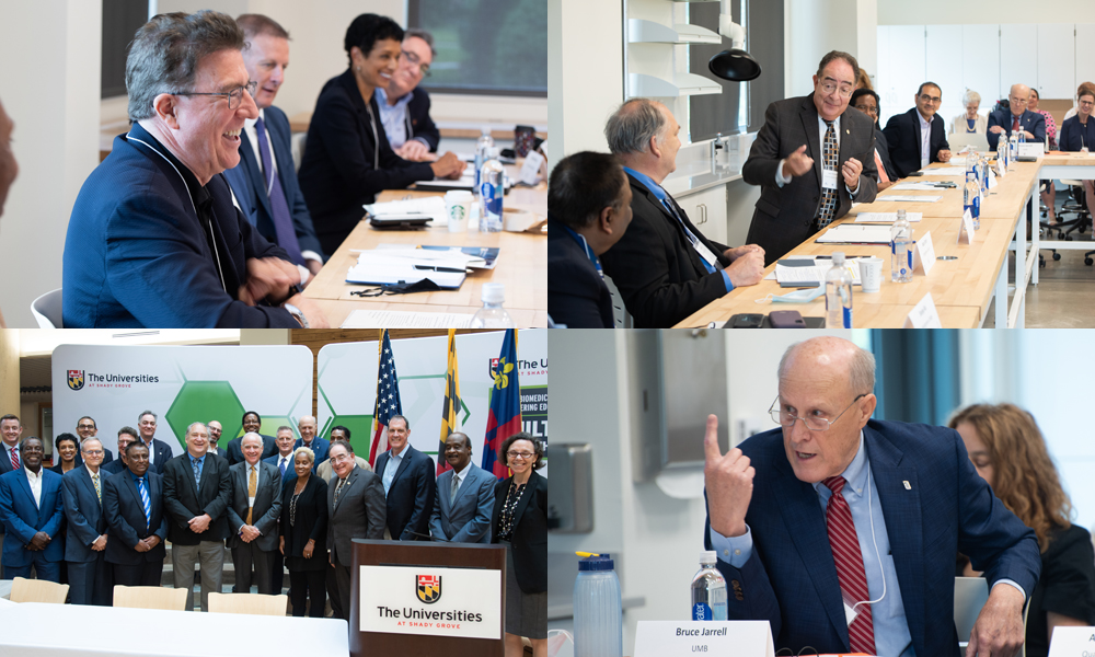 (clockwise from top left) UMBC's Karl Steiner provokes laughter from Bowie State University President Aminta Breaux, USM Chancellor Jay Perman makes a point to Montgomery County Executive Marc Elrich, UMB President Bruce Jarrell expresses a vision for Maryland's biotech future, and key stakeholders pose after signing the agreement to work collaboratively.