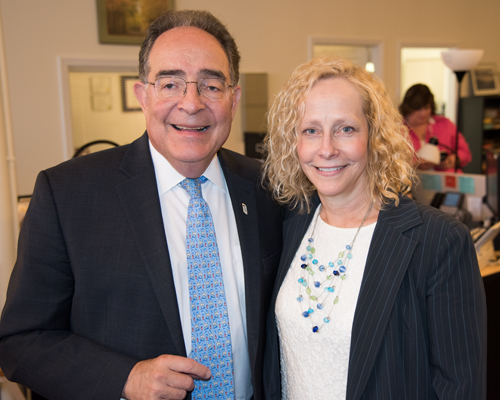 UMB President Jay A. Perman, MD, with Susan K. Stewart, Executive Director of AHEC West