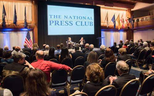 New York Times Columnist Frank Bruni, UMB President Jay A. Perman, MD, and alumni at the National Press Club.