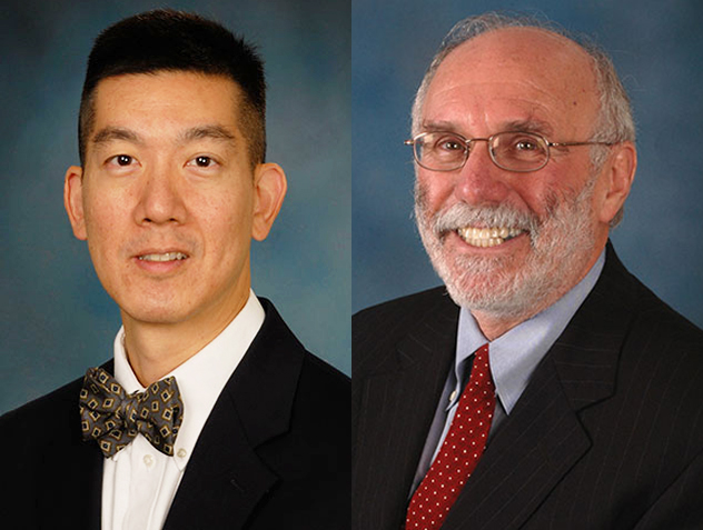 Wilbur H. Chen, MD, MS, associate professor of medicine, left, and Myron M. Levine, MD, DTPH, the Simon and Bessie Grollman Distinguished Professor at the University of Maryland School of Medicine.