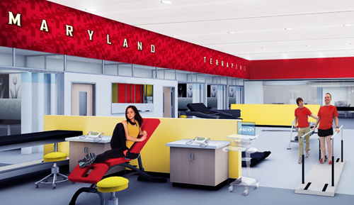 Artist's rendering of a look inside the Center for Sports Medicine, Health and Human Performance