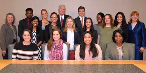 Standing with Conway Scholars are University of Maryland School of Nursing (UMSON) Dean Jane M. Kirschling, PhD, RN, FAAN (back row, far left); Bill Conway, (back row, fourth from left); Zachary Crowe, vice president, The Carlyle Group (back row, fourth from right); and Laurette Hankins, UMSON associate dean for development and alumni relations (back row, far right.)