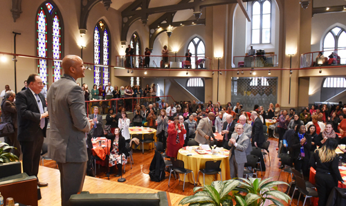 Wes Moore receives a standing ovation from the audience at Westminster Hall.