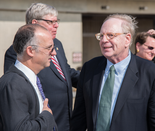Maryland Carey Law Dean Donald Tobin (left) talks with UM Center for Health and Homeland Security Director Michael Greenberger at the announcement of a national security focused partnership between the FBI, the University of Maryland, Baltimore, and the University of Maryland College Park.