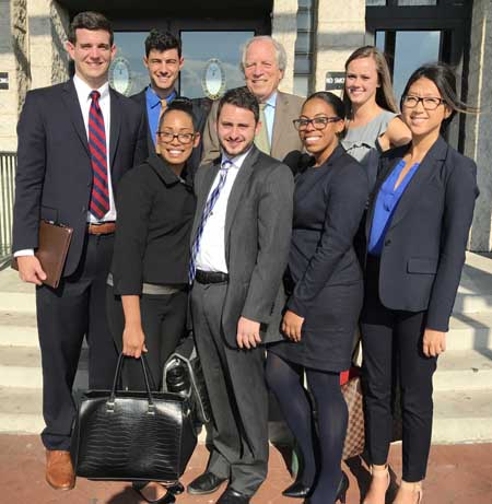Maryland Carey Law Professor Doug Colbert and Fall 2016 students of the Access to Justice Clinic pose at the District Court of Maryland.