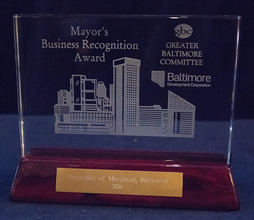 The Mayor's Business Recognition Award is given to organizations that have significantly improved Baltimore through outstanding community service.