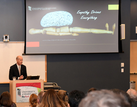 "Bartley P. Griffith, MD, delivered the Entrepreneur of the Year presentation, ""Road to a Deep Breath,"" on Oct. 18 at the University of Maryland BioPark."