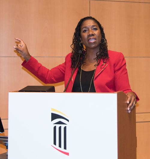 "Sherrilyn Ifill, JD, addresses the ""Civil Rights Challenges of 2017"" at UMB's Black History Month celebration."