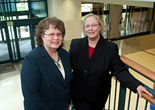 Barbara Nubile, MSN, RN, of Montgomery College, left, and Rebecca Wiseman, PhD, RN, of UMSON