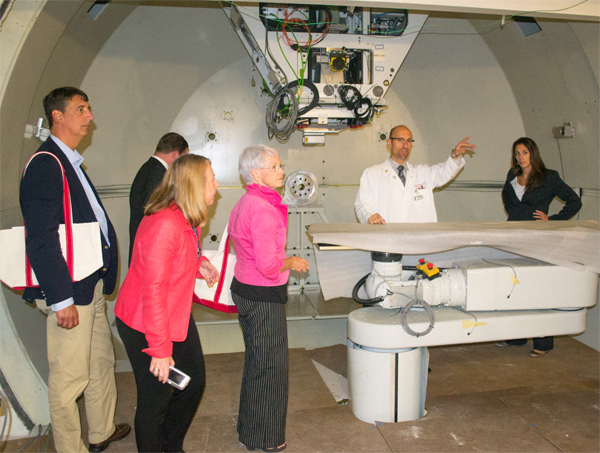 Dr. William Regine gives visiting Maryland legislators an inside look at the Maryland Proton Treatment Center prior to the grand opening.
