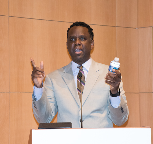 Using a bottle of water as an example, Chris Gibbons, MD, MPH, chief health innovation advisor to the Federal Communications Commission's Connect2Health Task Force, talks about how groceries in the future will feature radio-frequency identification on labels. Gibbons spoke at the 2017 Summer Institute in Nursing Informatics held at the University of Maryland School of Nursing.