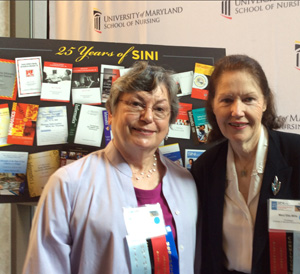 Co-chairs Judy Ozbolt, PhD, RN, FAAN, FACMI, FAIMBE, visiting professor at the University of Maryland School of Nursing (SON), left; and Mary Etta Mills, ScD, RN, NEA-BC, FAAN, CNE-BC, professor at the SON, oversee the 25th anniversary of the Summer Institute in Nursing Informatics (SINI).