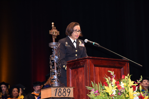 Rear Admiral Sylvia Trent-Adams, PhD, MS '99, RN, FAAN, addresses School of Nursing graduates.