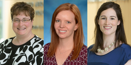 Honorees from the Department of Pharmacy Practice and Science of the University of Maryland School of Pharmacy are, left to right, Jill A. Morgan, PharmD, BCPS, BCPPS; Emily Heil, PharmD, BCPS-AQ ID, AAHIVP; and Alison Duffy, PharmD, BCOP.