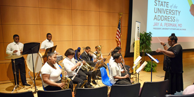 The children of the Franklin Square Elementary/Middle School entertained the crowd with a musical performance before the 2016 State of the University address.