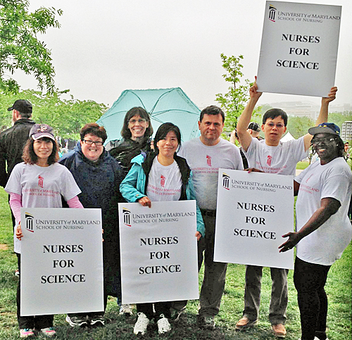 Faculty members from the University of Maryland School of Nursing participating in the March for Science in Washington, D.C., included, from left, Pei-Ying Huang, Karen Wickersham, Valerie E. Rogers, Yulan Liang, Arpad Kelemen, Shijun Zhu, and Veronica Njie-Carr.