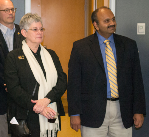 Wolfgang Losert, PhD, of UMCP, Lisa Shulman, MD, of the SOM, and Amitabh Varshney, PhD, of UMCP listen as their 2015 grant awards are announced.