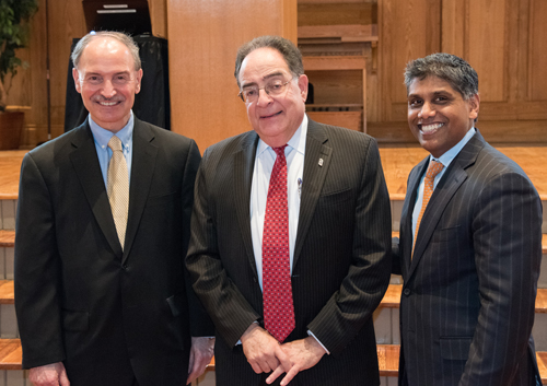 Robert Chrencik of UMMS, Jay Perman of UMB, and Mohan Suntha of UMMC join together for Spirit Day.