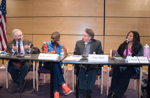 From left, E.J. Dionne, DeRay Mckesson, Tom Hall, and Kimberly R. Moffitt, discuss social justice in the wake of the 2016 election.