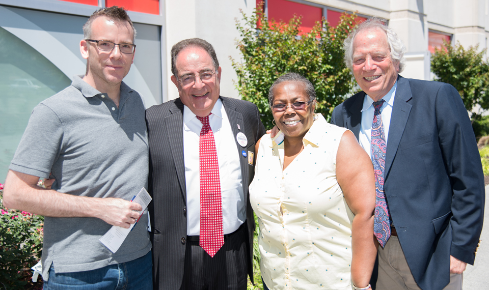 Proud voters, left to right, Rob Dickerson of Pigtown; UMB President Jay A. Perman, MD; Dorothy