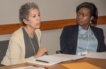 Promise Heights Executive Director Bronwyn Mayden, left, discusses steps to reduce the city's infant mortality rate with co-panelist Shalewa Noel-Thomas, director of the Maryland Office of Minority Health and Health Disparities.
