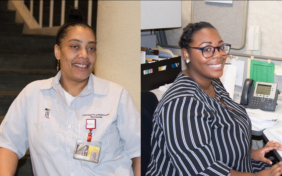 Aiysha Harris, a floor technician, and Shakiara Seals, an office clerk, both landed jobs at UMB thanks to the efforts of the Office of Community Engagement.