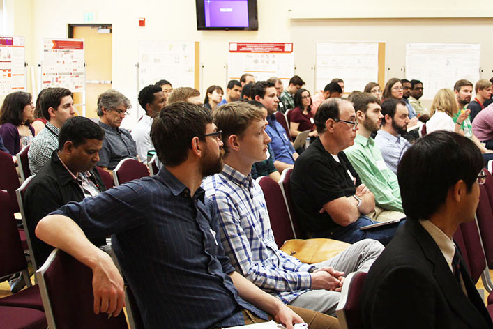 Participants in the Computer-Aided Drug Design (CADD) Center Symposium explored potential collaborations while hearing from regional experts in computational chemistry.