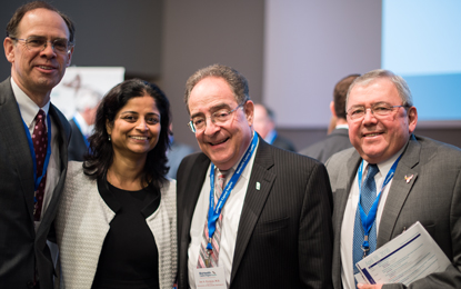 UM Ventures Director James Hughes, MBA, president of the UM BioPark, left; Gayatri Varma, PhD, of MedImmune; UMB President Jay Perman, MD; and BioPark tenant Marco Chacon, founder and chairman, Paragon Bioservices.