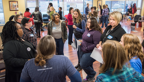 Participants in a nonviolent active bystander training session held on Jan. 20, take turns role-playing scenarios in which they de-escalate conflict and peacefully intervene when witnessing incidents of harassment or abuse.