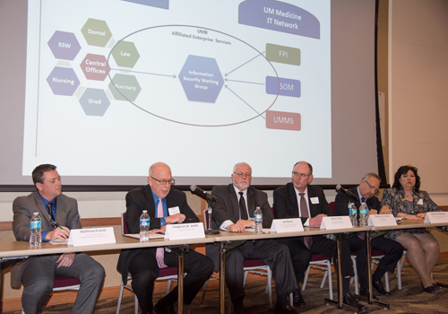 Representatives of the UMB Security Collaborative, (l-r) Matthew Kramer (FPI), Frederick Smith (UMB), John Burns (UMMS), Kevin Crain (UMMC), Charles Henck (FPI), Sharon Bowser (School of Medicine). Behind them a chart shows the interconnections between agencies.