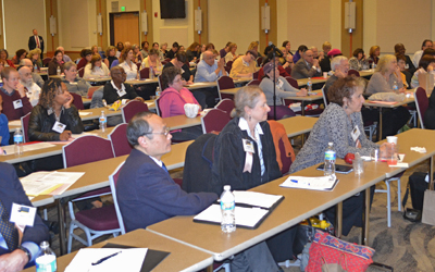 Audience members, who earned continuing education credit, listen at the Second Annual Interprofessional Forum on Ethics and Religion in Health Care.