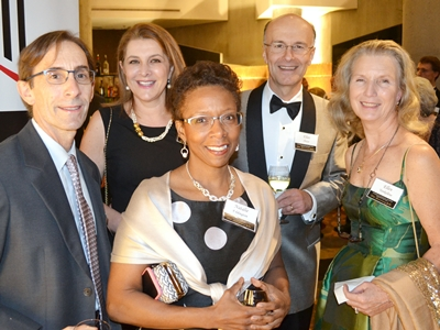 C. Daniel Mullins, PhD; Fadia Shaya, PhD, MPH, Natalie Eddington, PhD, FCP, FAAPS, dean of the School of Pharmacy, Elias Shaya; and Ellen Yankellow, PharmD '96, BSP '73 enjoy the gala.