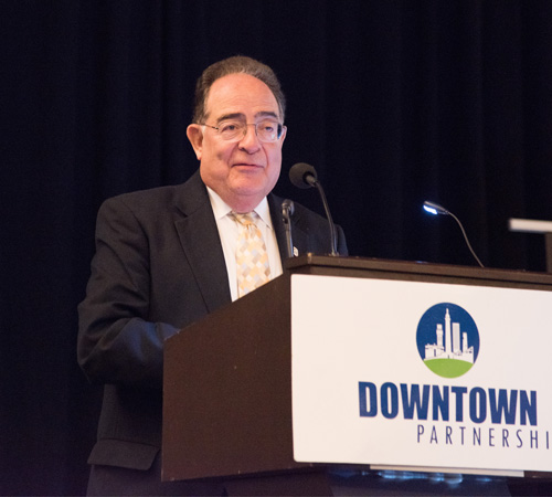 University of Maryland, Baltimore President Jay A. Perman, MD, addresses business and community leaders at the 2019 State of Downtown Breakfast hosted by the Downtown Partnership of Baltimore.