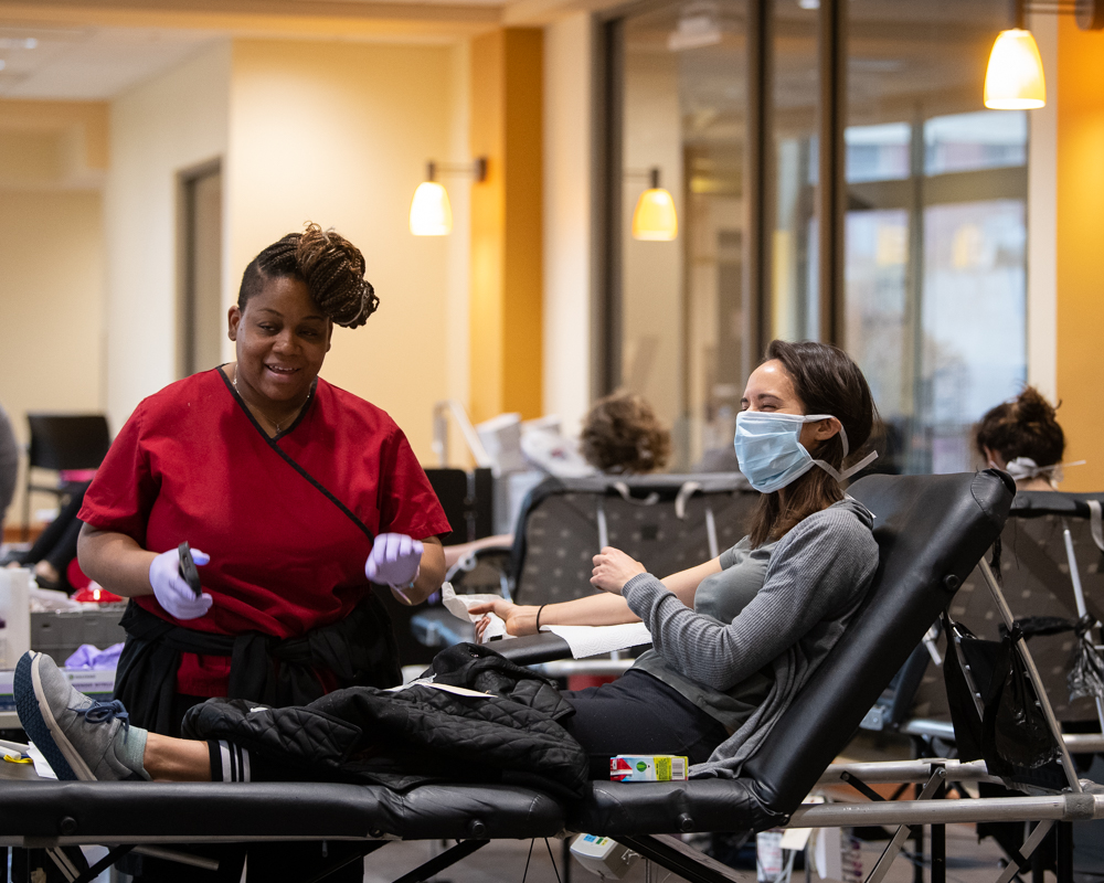 While hospitals across the nation are experiencing an unprecedented shortage of blood because of the COVID-19 pandemic, the number of people willing to donate here is not in short supply.
